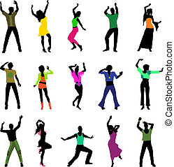 dancing people silhouettes isolated on white background