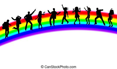 dancing people silhouettes on rainbow