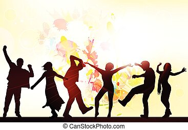 dancing people silhouettes with background