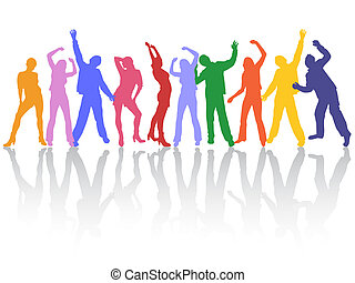 vector illustration of colorful people silhouettes