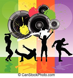 dancing people with speaker vector illustration in...