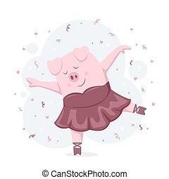 Dancing Piggy Ballerina