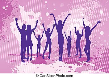 Dancing Pink Colorful Dance Banner People Crowd