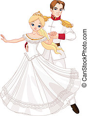 Dancing prince and princess - Illustration of dancing prince...