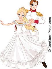Dancing prince and princess - Illustration of dancing prince...