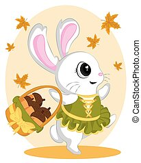 Dancing rabbits in autumn brings baskets with walnuts.  little bunny with autumn leaves