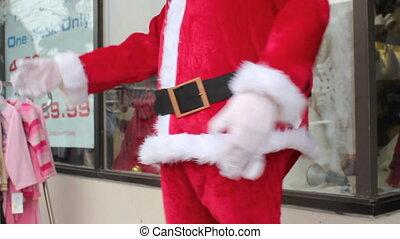 Dancing robot Santa. Belly detail.