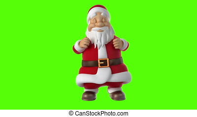 Dancing Santa Claus on a green background