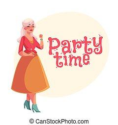 dancing, senior, gray-haired, oud, elegant, dame
