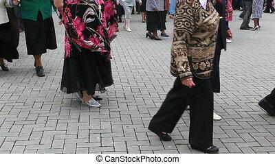 dancing seniors - Active seniors dancing in the open air in...