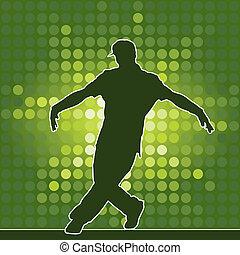 dancing silhouette, breakdance, vector illustration