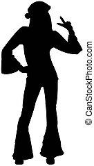 Dancing silhouette hippie girl