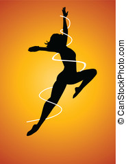 Dancing - Silhouette illustration of a woman figure dancing