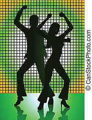Dancing - Silhouette Illustration of couple dancing with...