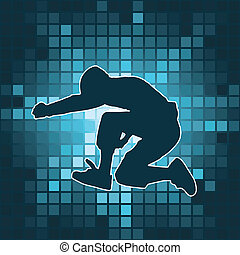 dancing silhouette, jump, vector illustration