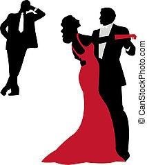 dancing silhouettes - elegant couple dancing, vector...