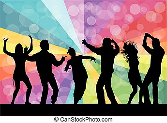 Dancing silhouettes - grunge background