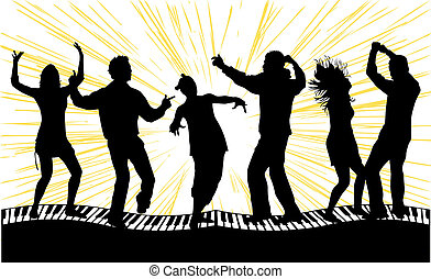 Dancing silhouettes people
