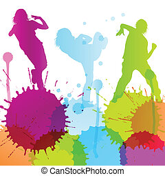 Dancing silhouettes vector background concept with ink...