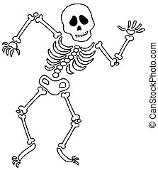Dancing skeleton on white background - isolated...
