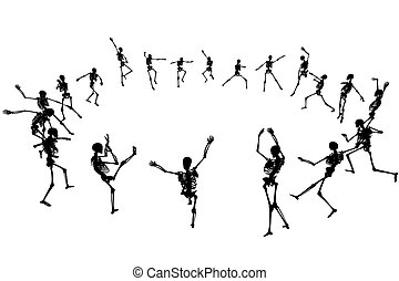 Skeleton silhouettes dancing in a ring