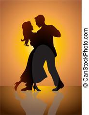 Dancing - Stock vector of a couple dancing