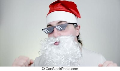 Dancing Swag Santa Claus in funny pixelated sunglasses on white background. Gangster, boss, thug life meme. 8bit style. Holly Jolly x Mas Noel. Party time, Happy New Year, Merry Christmas.