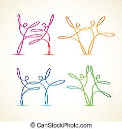 dancing swirly line figures - Colorful swirly line dancing...