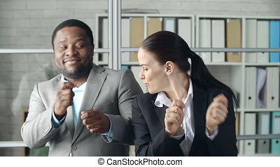 Dancing Together - Close up of businessman and his female...