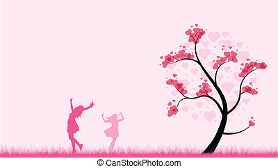 dancing valentines girls - two girls dance in a pink field...