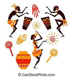 dancing, vector, mensen, silhouette, afrikaan, set
