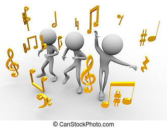 Dancing with music notes
