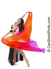 Dancing with veil - Belly dancer dancing with her veil