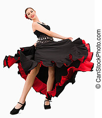 Dancing woman about to spin against a white background