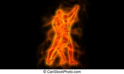 Dancing woman and man with aura