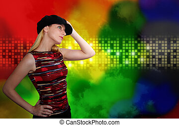Dancing Woman at Nightclub with Abstract Backgroun