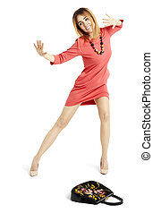 Dancing woman in a red dress