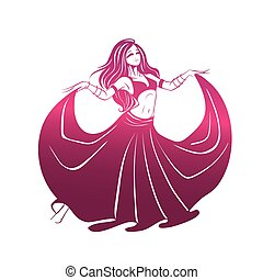 Dancing woman in expressive pose. flat silhouette