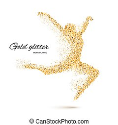 Dancing Woman in the Form of Gold Particles on White