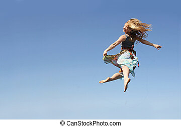 Dancing Woman Leaping through the Air