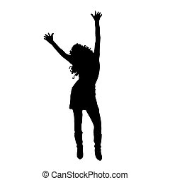 dancing woman . Vector illustration - dancing woman on a...