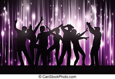dancing women and men with background
