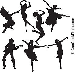 A set of dancing women silhouettes isolated