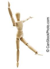 Dancing wooden doll