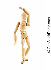 Dancing wooden dummy isolated