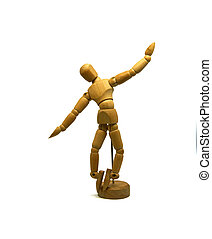 dancing wooden mannequin, puppet, isolated