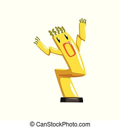 Dancing yellow inflatable tube man with waving hands vector...