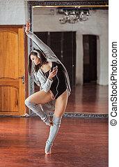 Dancing young girl with headphones