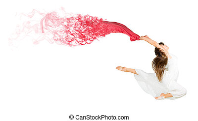 Dancing young girl with red cloth