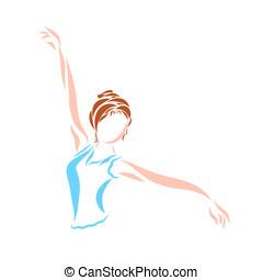Dancing young woman or girl doing gymnastics